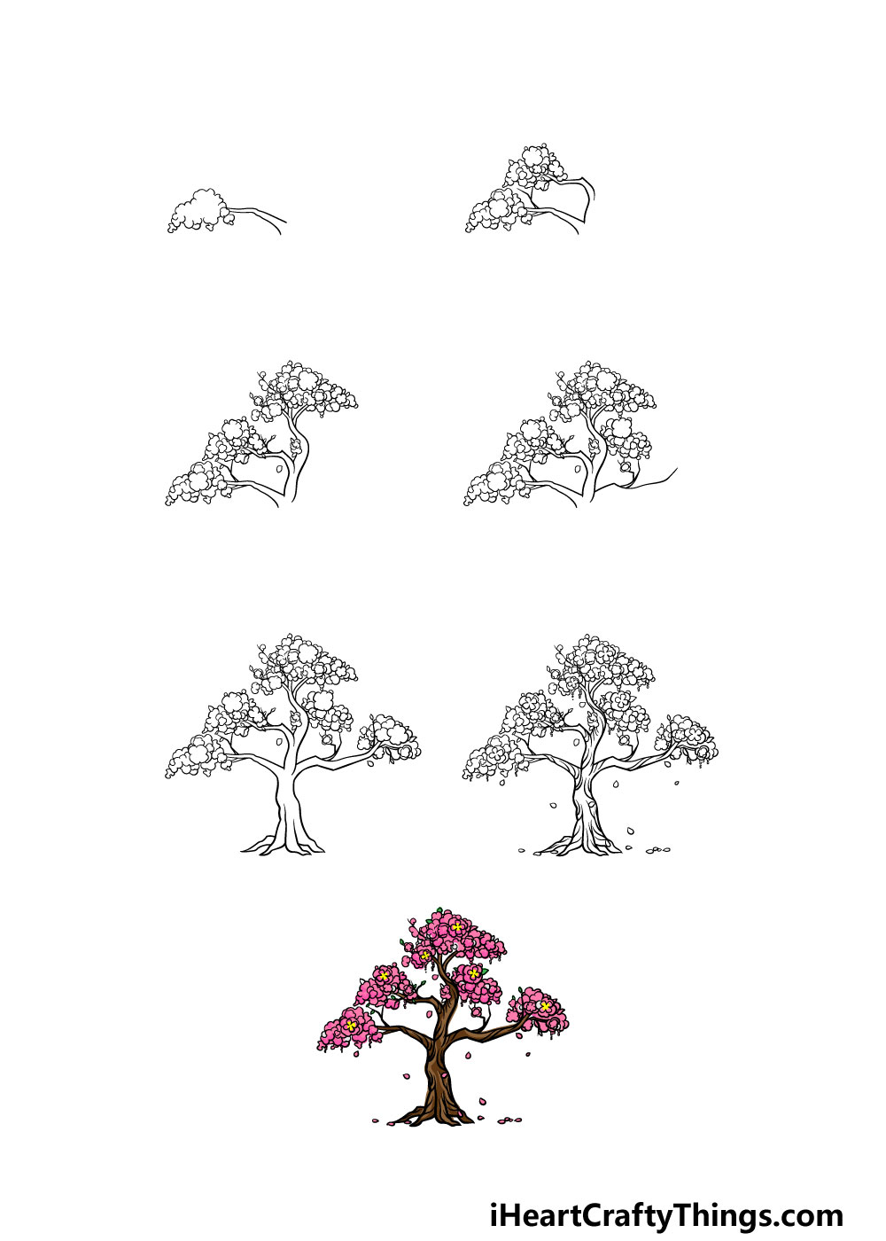 how to draw a cherry blossom tree in 7 steps