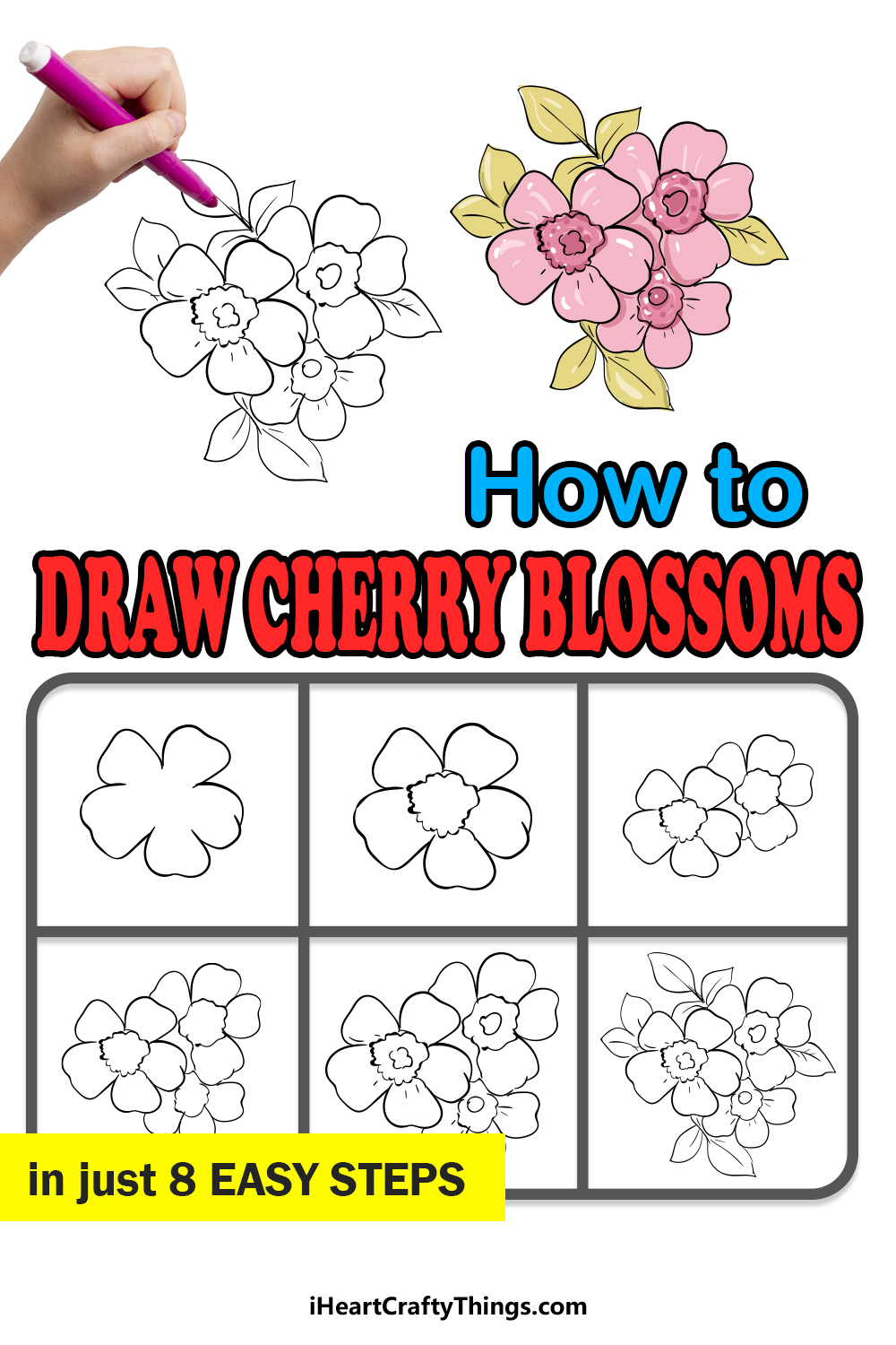 how to draw cherry blossoms in 8 easy steps