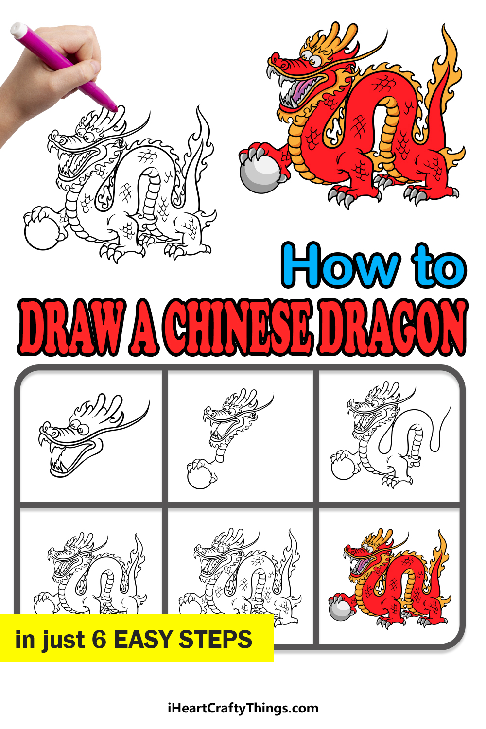 how to draw a Chinese dragon in 6 easy steps