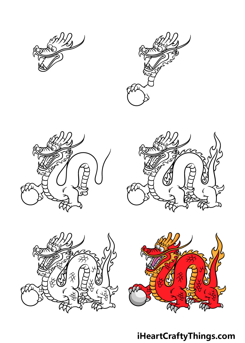 how to draw Chinese dragon in 6 steps