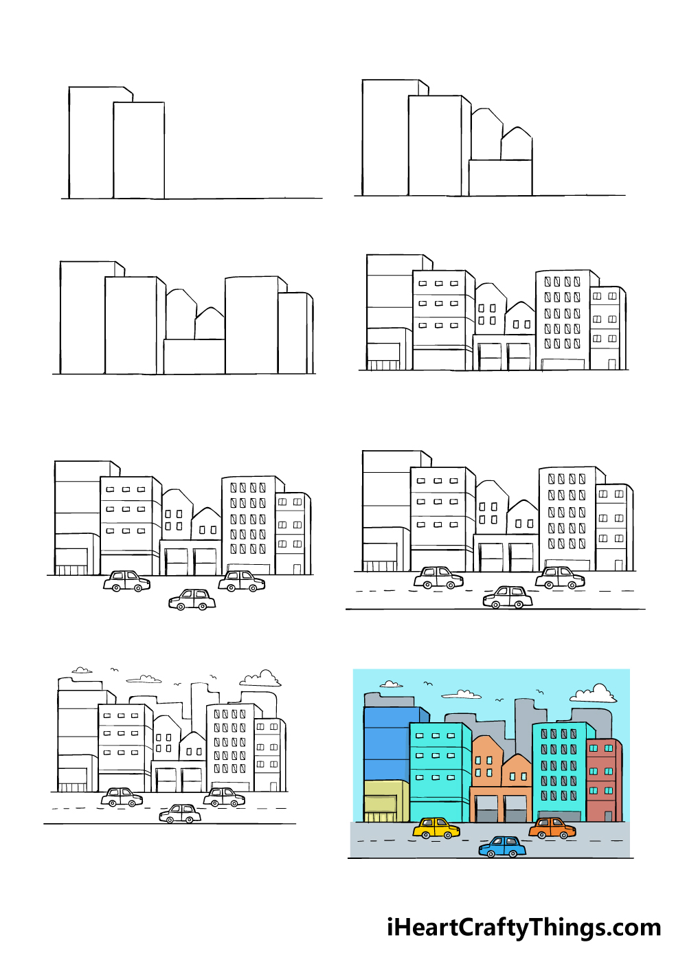 how to draw a city in 8 steps