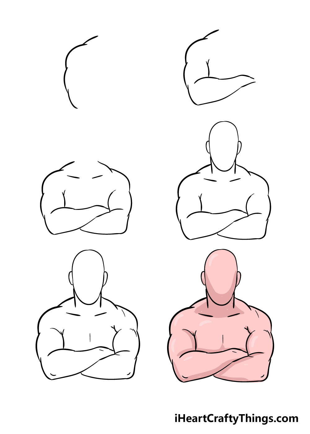how to draw crossed arms in 6 steps