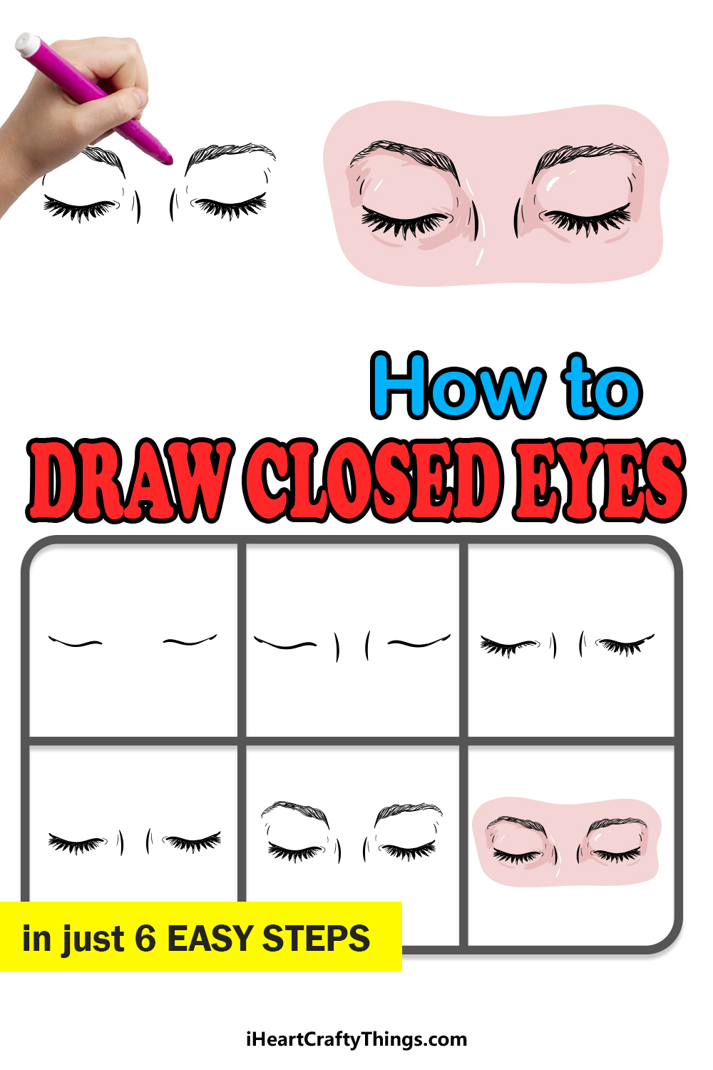 how to draw closed eyes in 6 easy steps