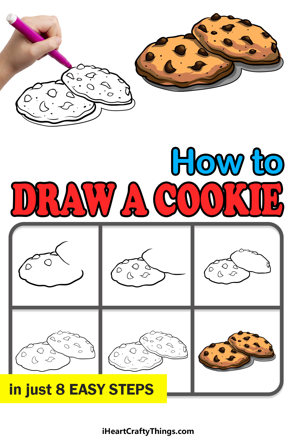 how to draw a cookie in 8 easy steps