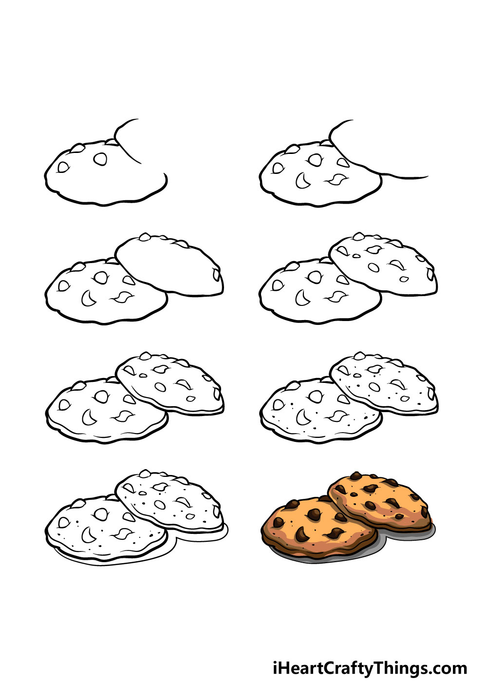 how to draw cookies in 8 steps