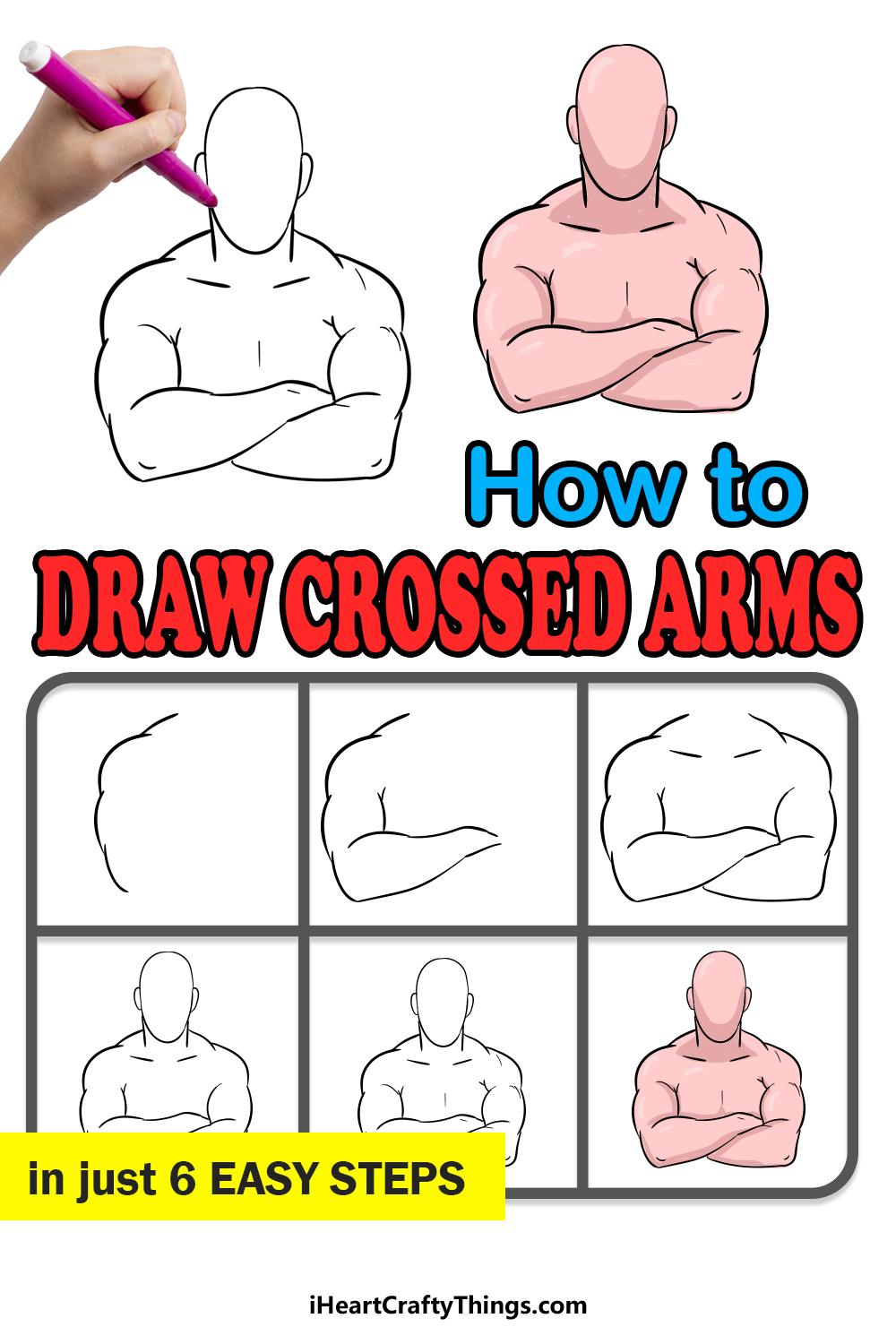 how to draw crossed arms in 6 easy steps