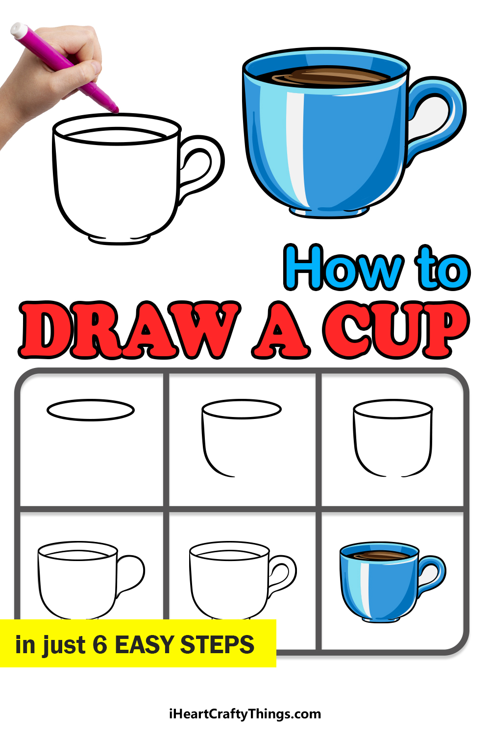 how to draw a cup in 6 easy steps