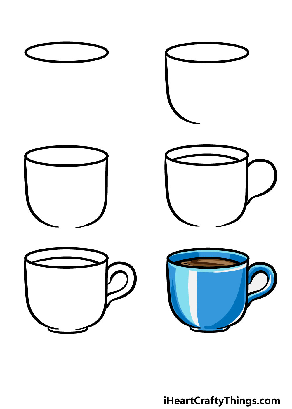 how to draw a cup in 6 steps