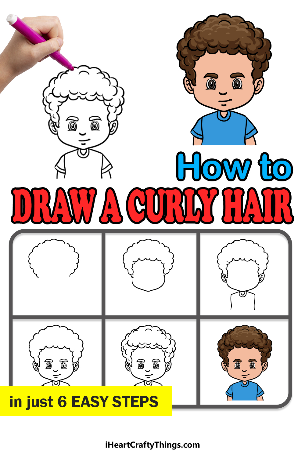 how to draw curly male hair in 6 easy steps