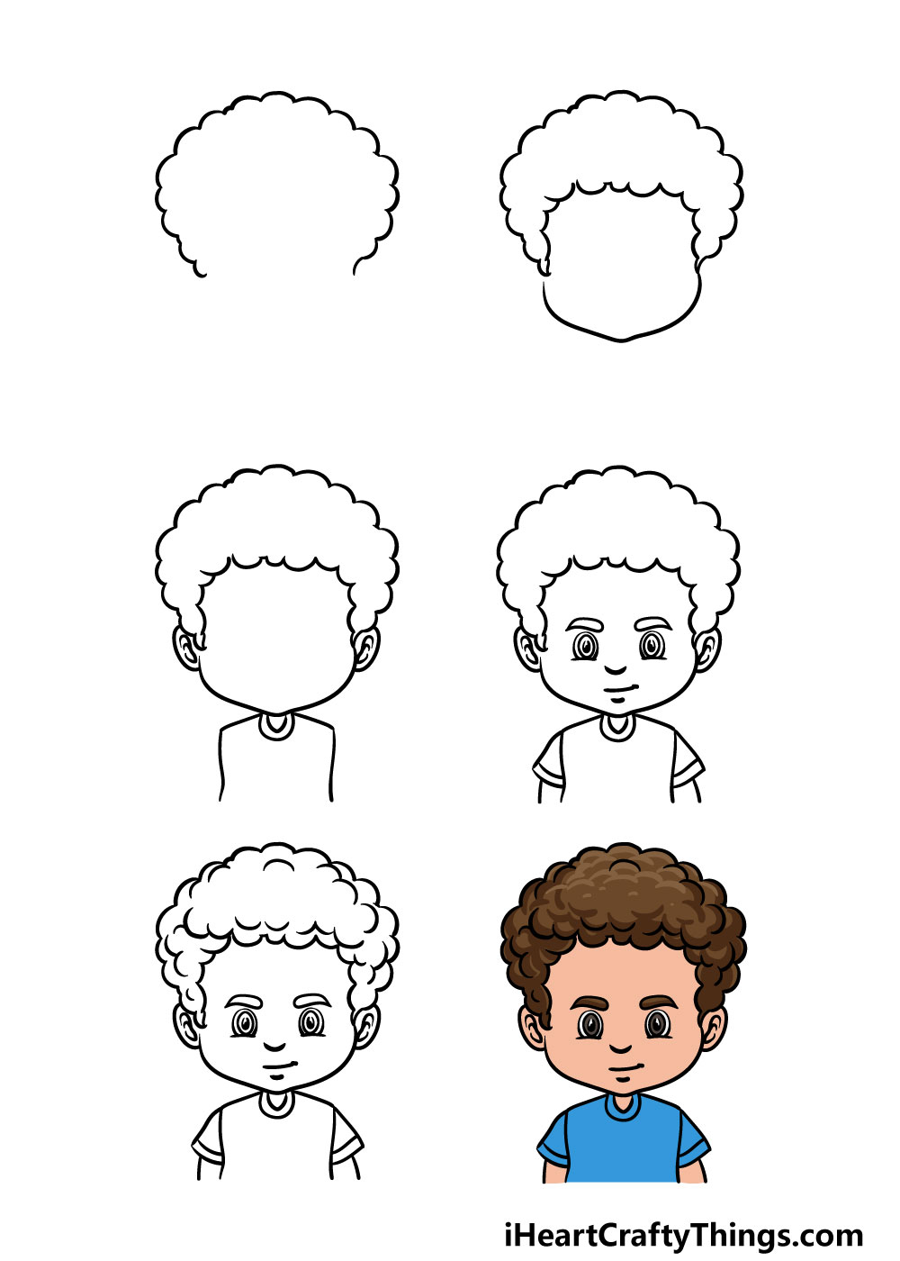 how to draw curly male hair in 6 steps