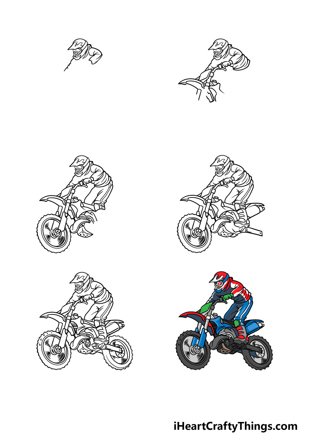 how to draw a dirt bike in 6 steps