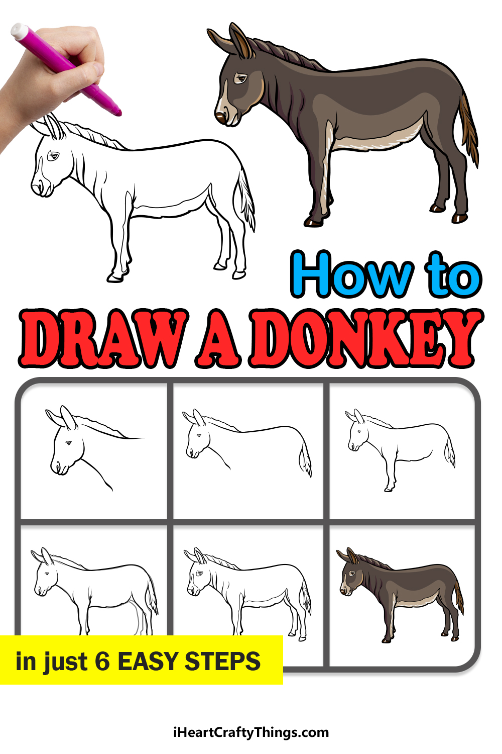 how to draw a donkey in 6 easy steps