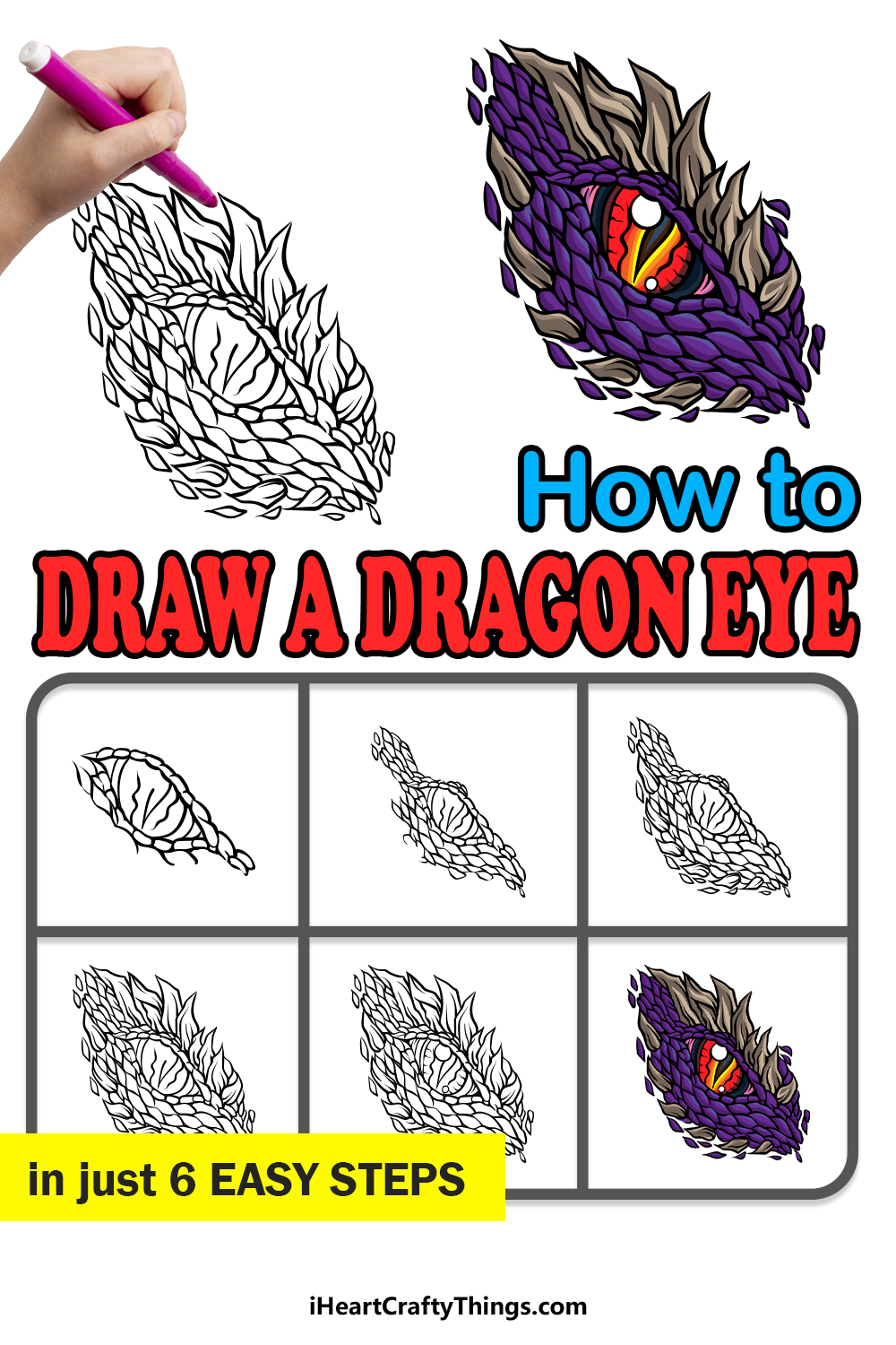 how to draw a dragon eye in 6 easy steps
