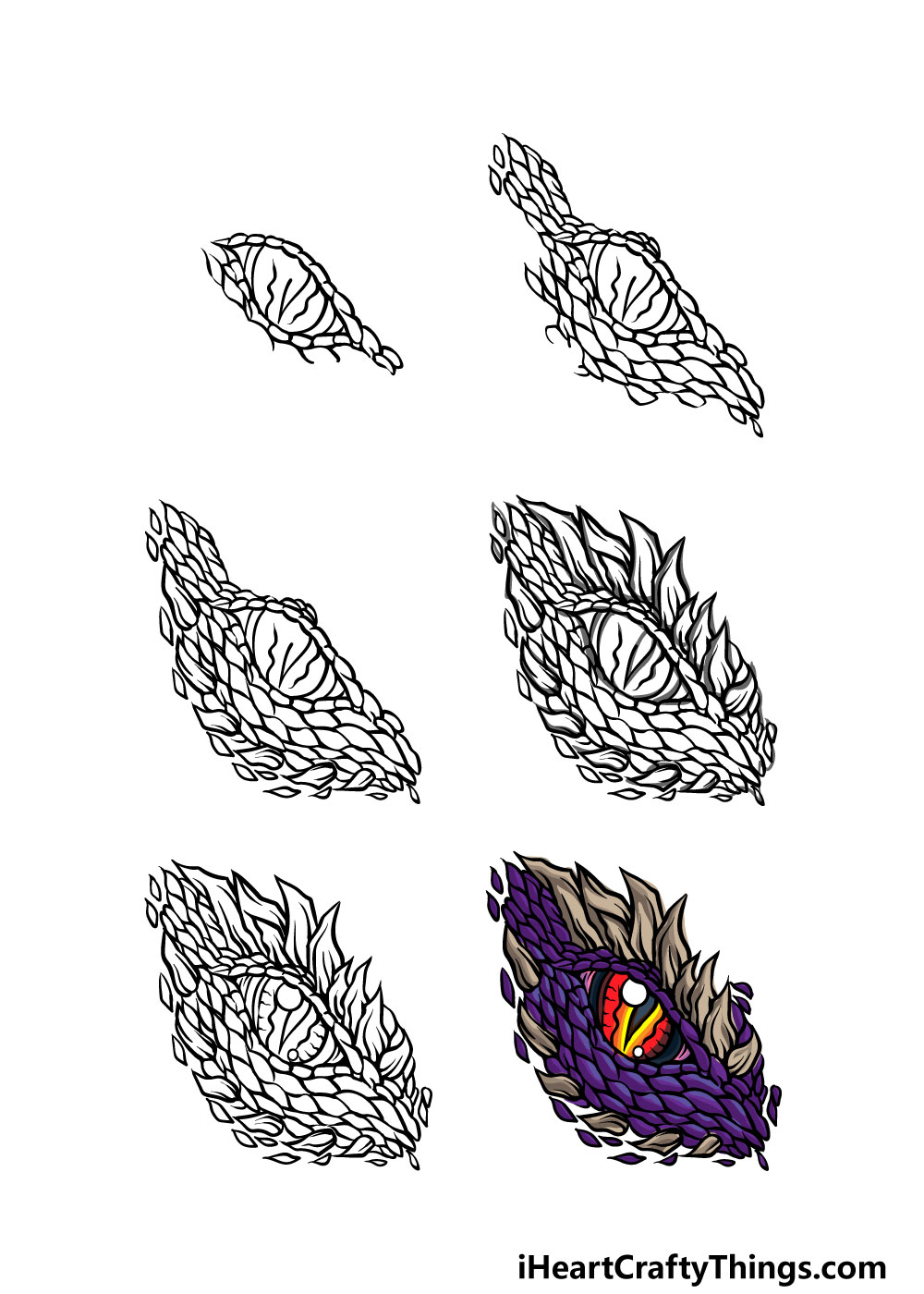 how to draw a dragon eye in 6 steps