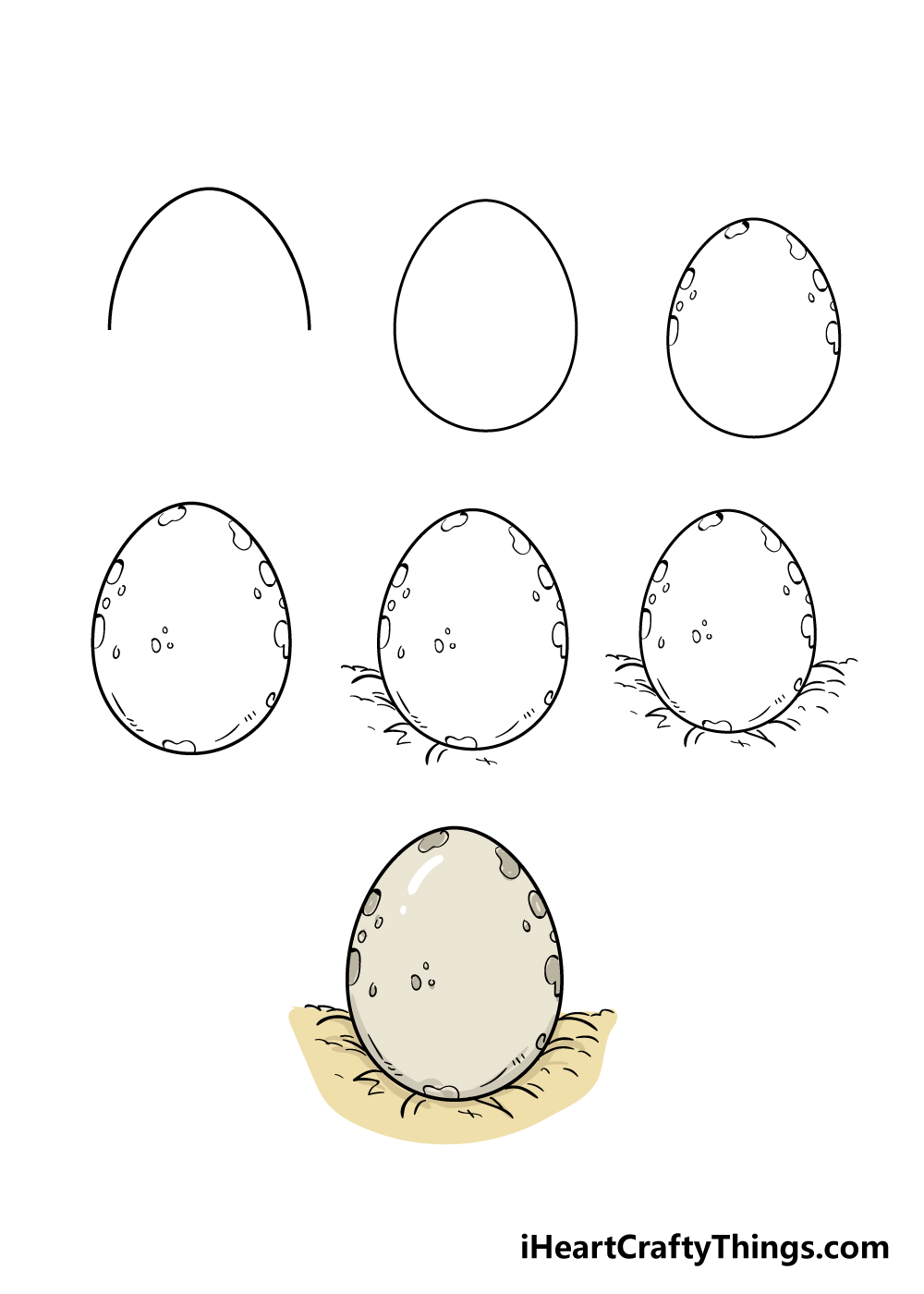 how to draw egg in 7 steps