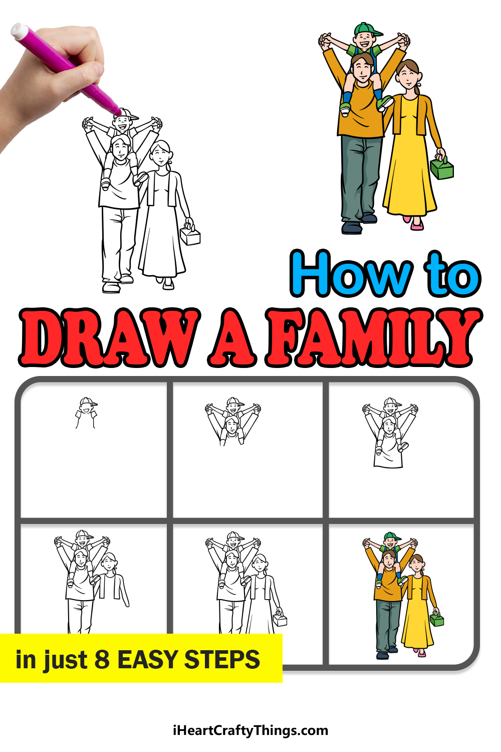 how to draw a family in 8 easy steps