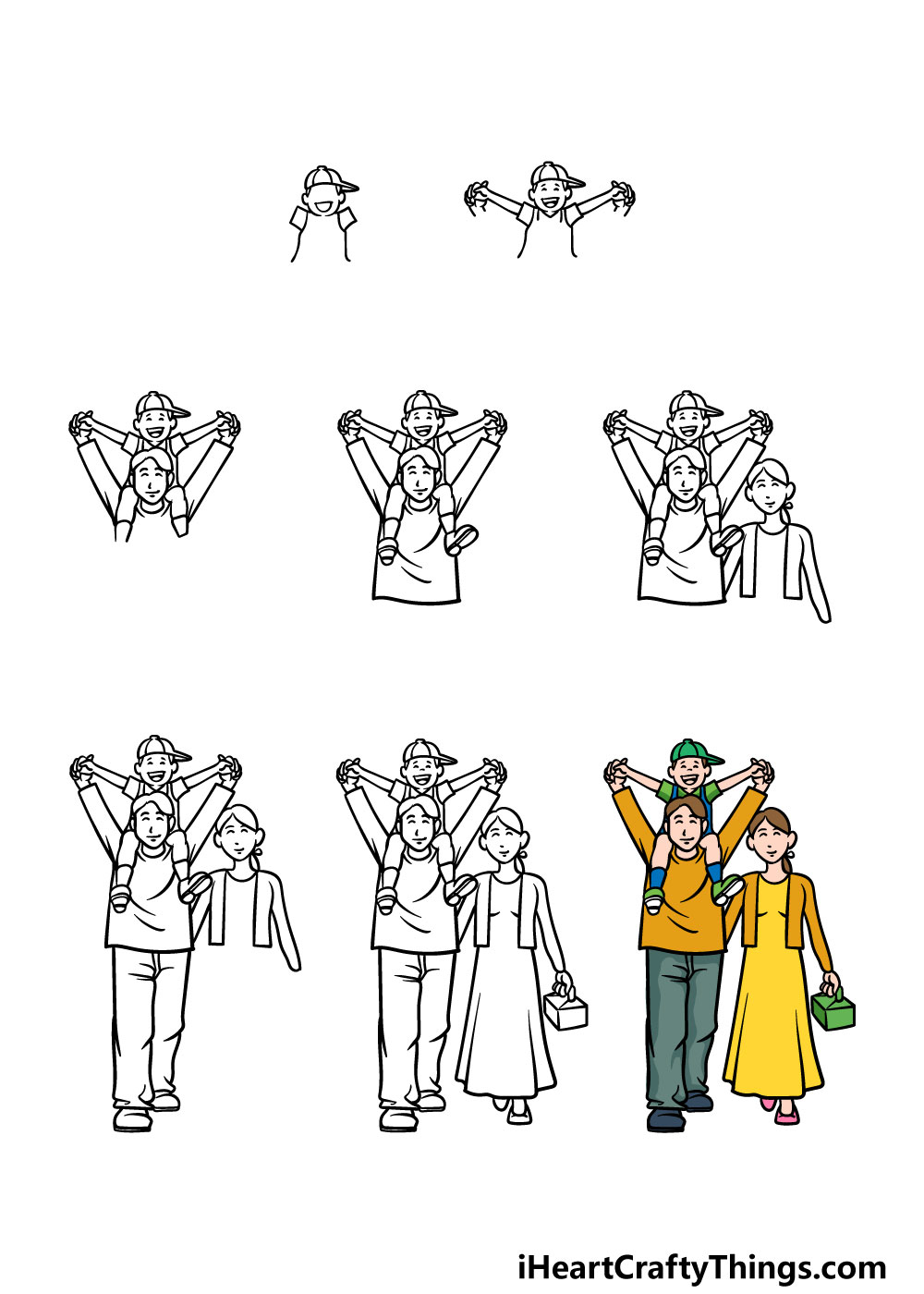 how to draw a family in 8 steps