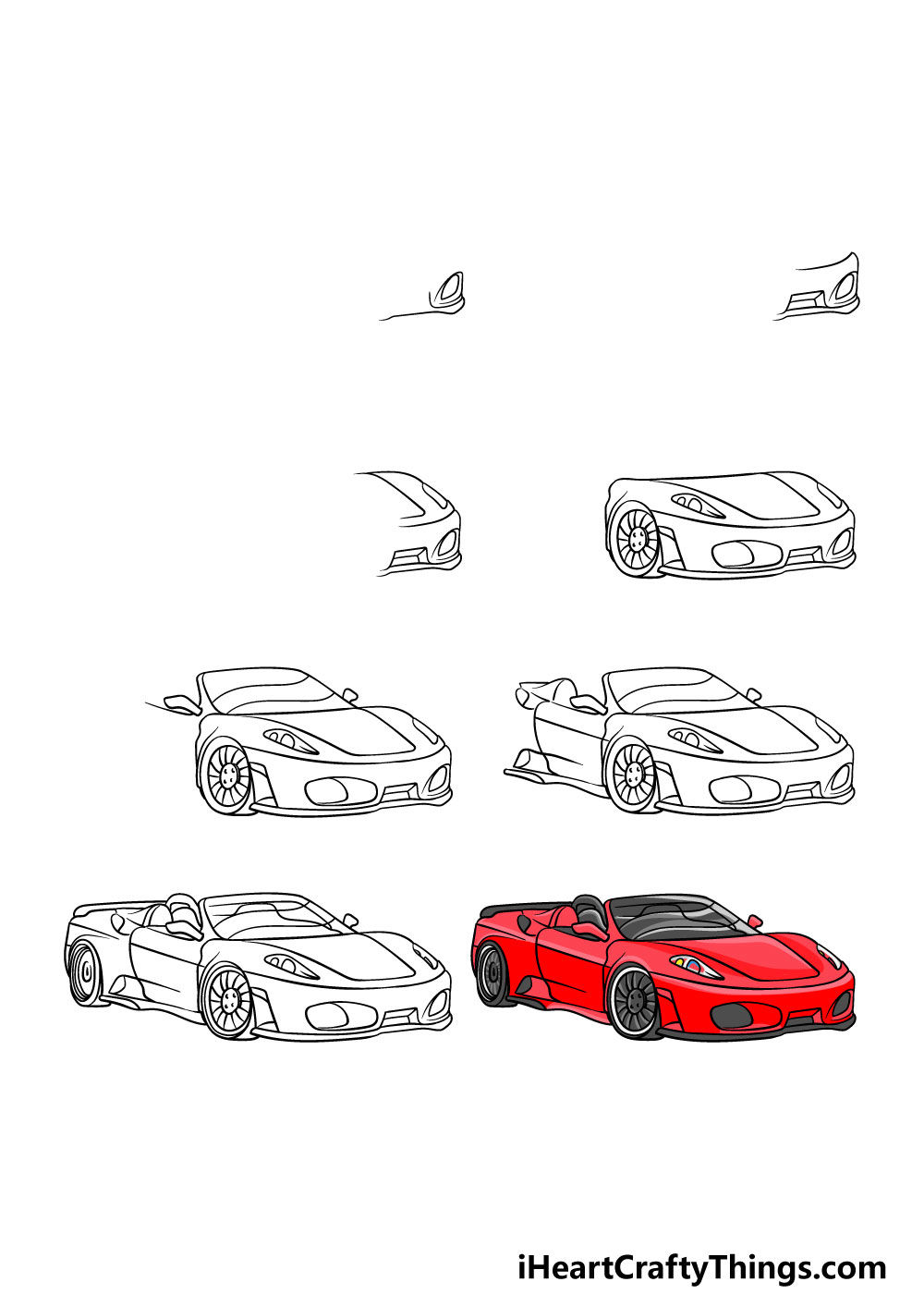 how to draw a ferrari in 8 steps