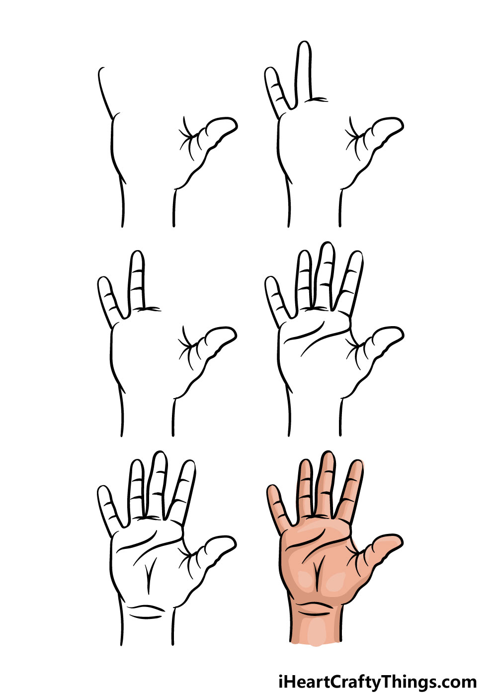 how to draw fingers in 6 steps