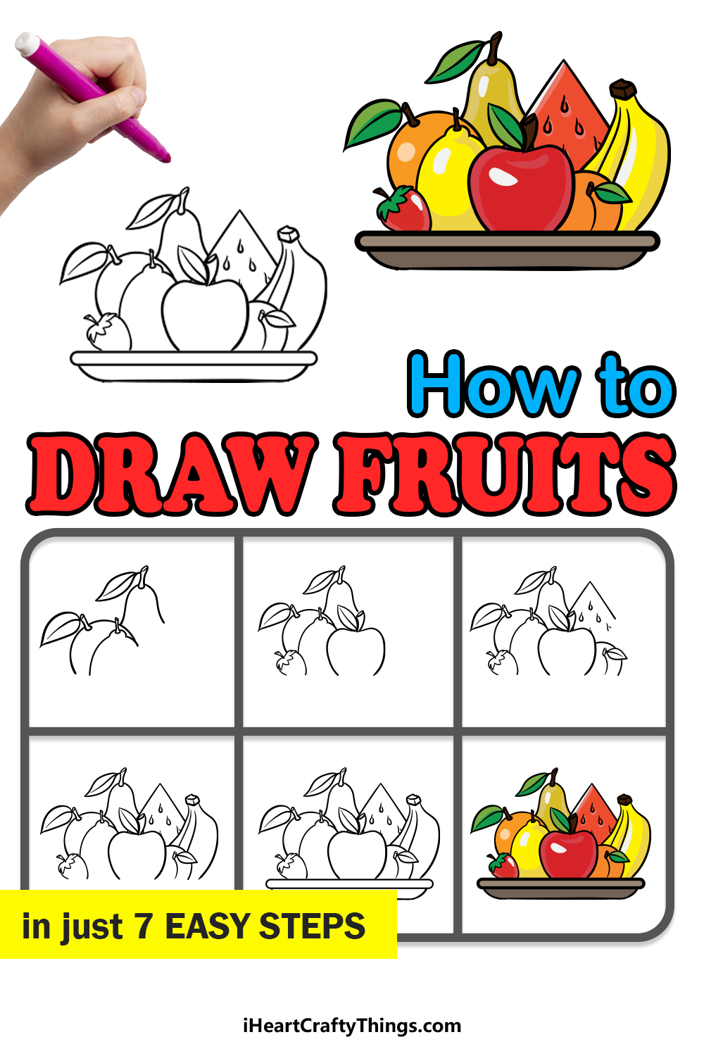 how to draw fruits in 7 easy steps