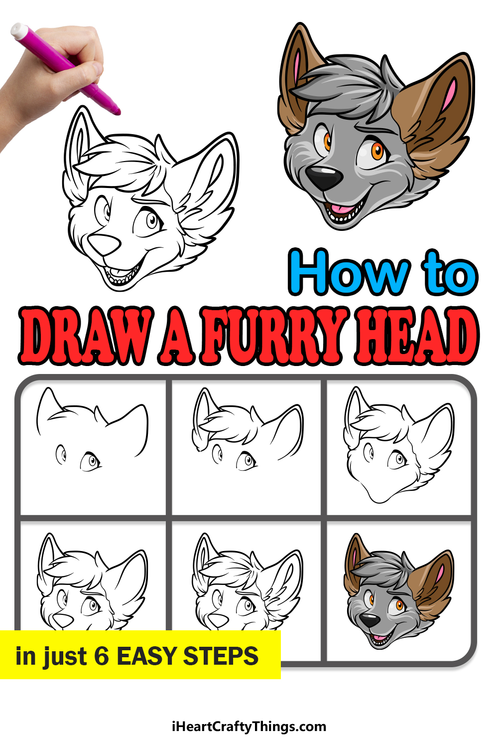 how to draw a furry head in 6 easy steps