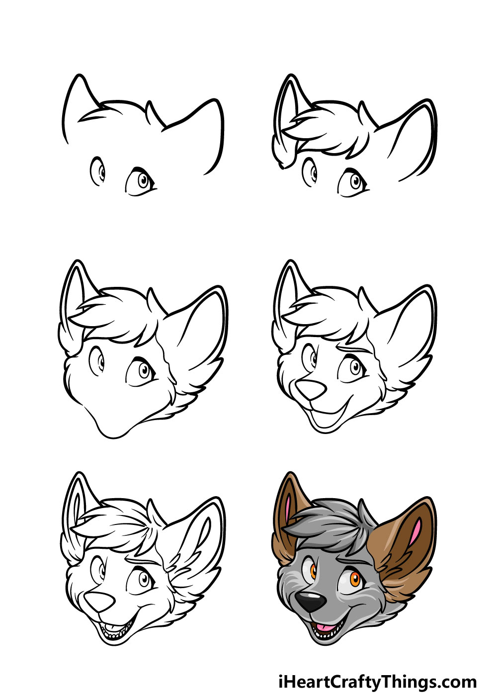 how to draw furry head in 6 steps