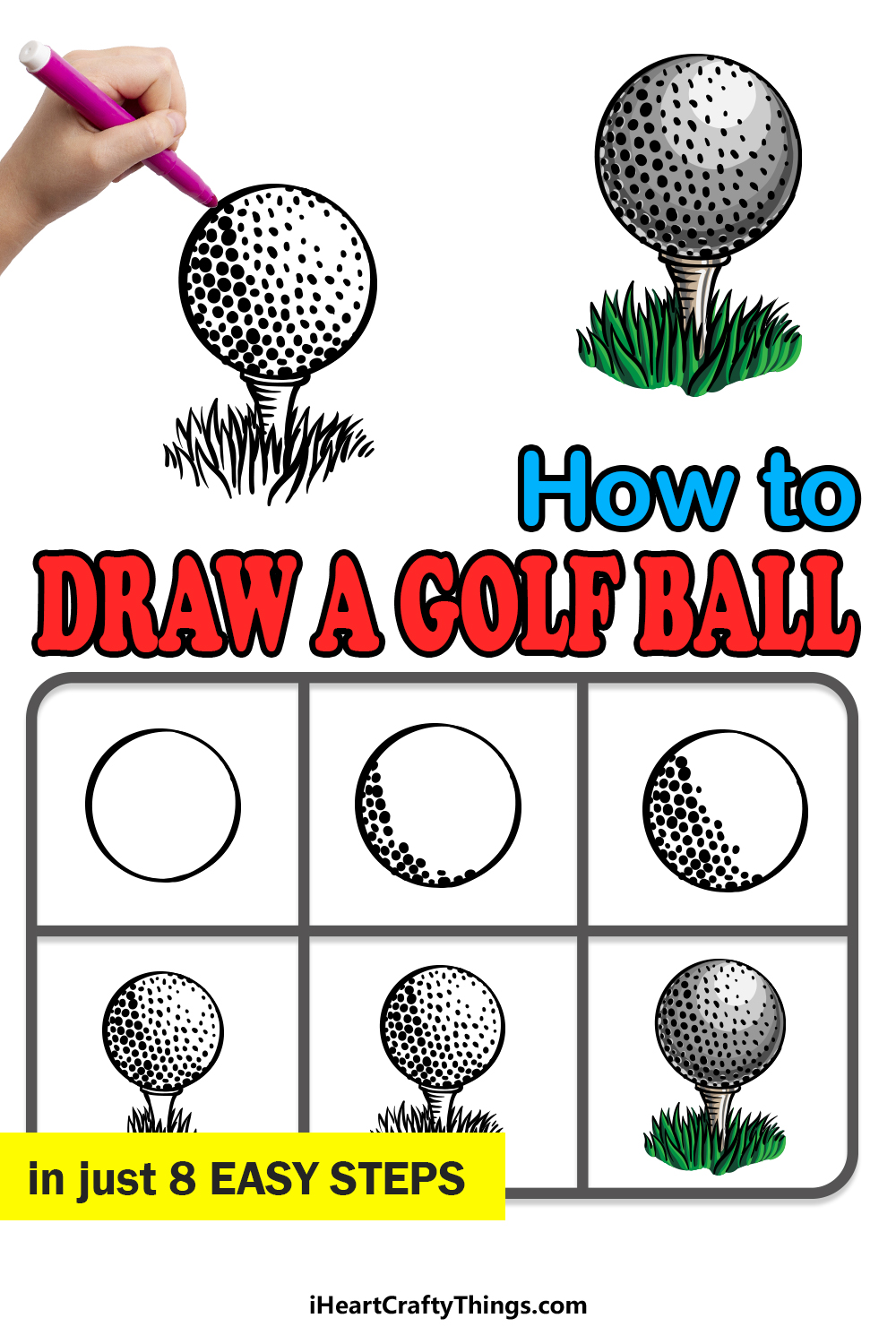 how to draw a golf ball in 8 easy steps