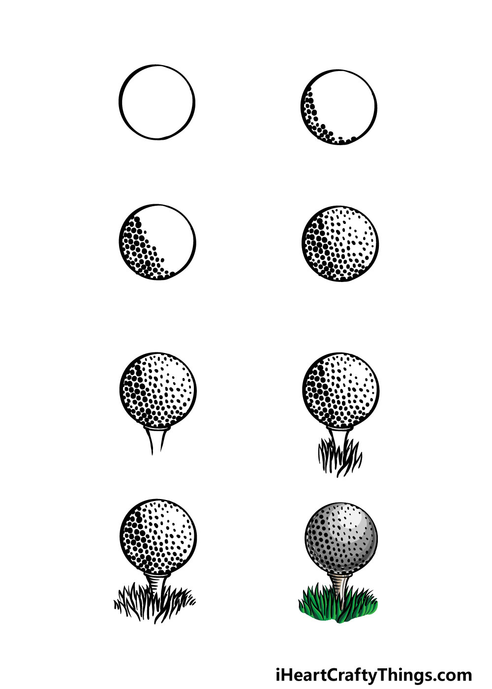 how to draw a golf ball in 8 steps