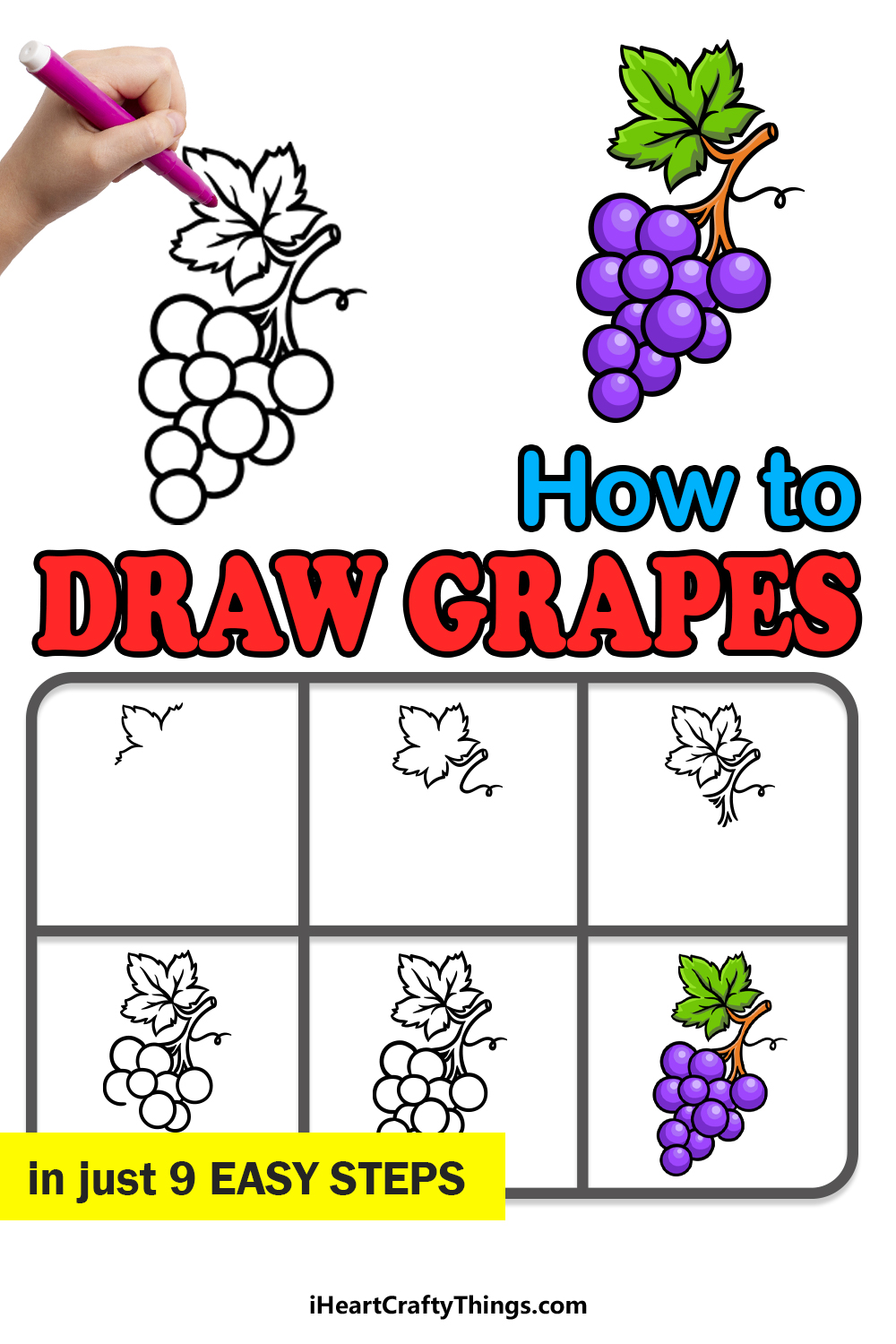 how to draw grapes in 9 easy steps