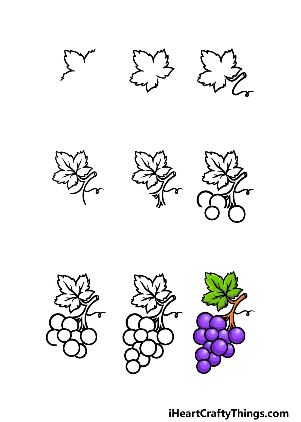 how to draw grapes in 9 steps