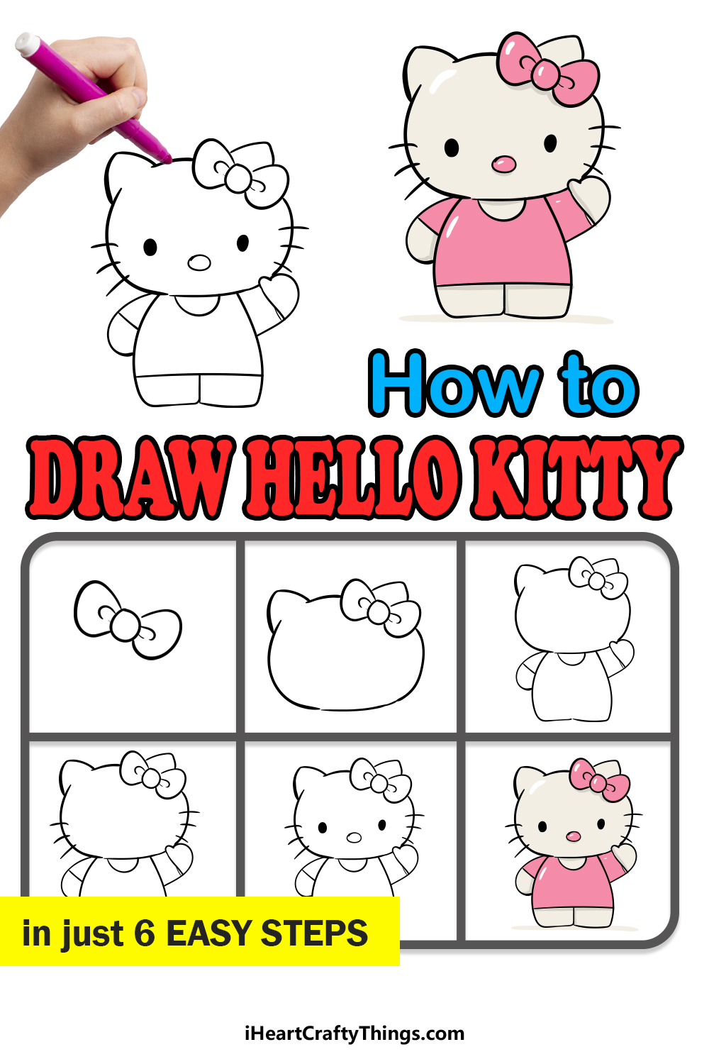 How to draw hello kitty in 6 easy steps
