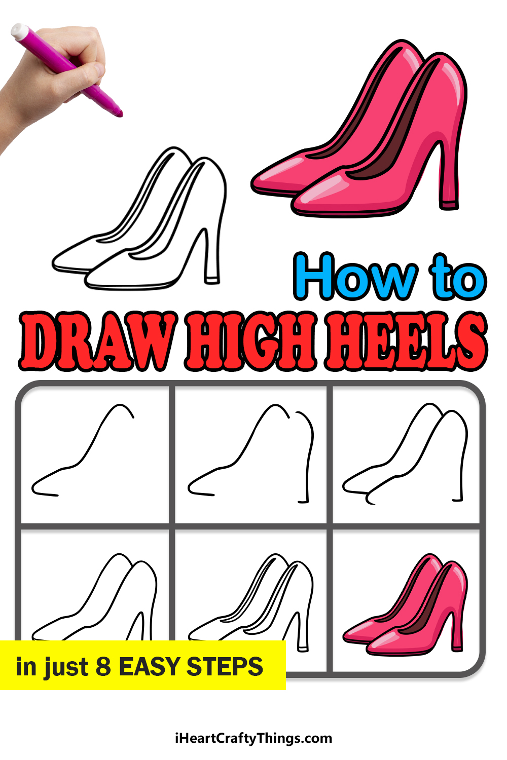 how to draw high heels in 8 easy steps