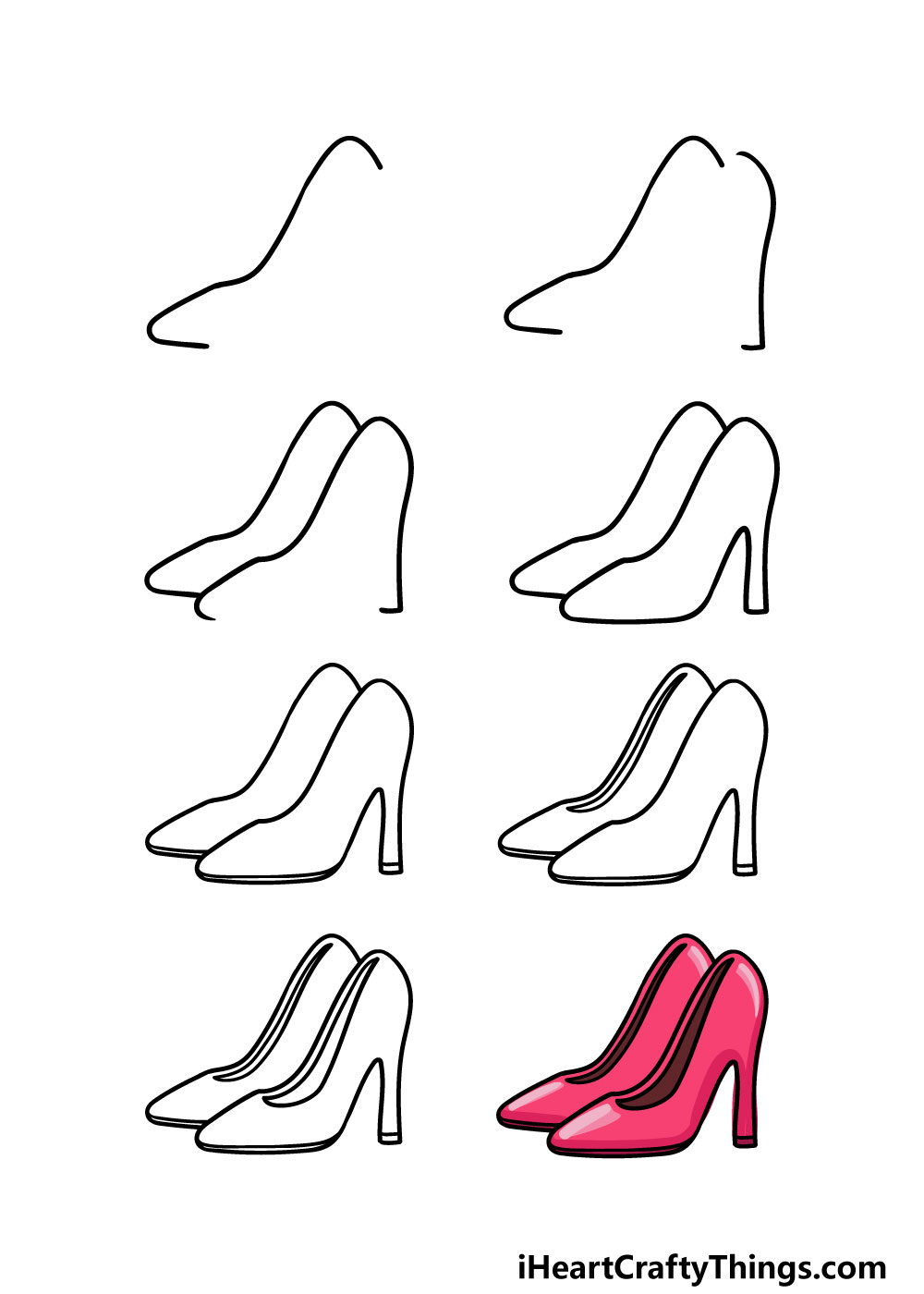 how to draw high heels in 8 steps