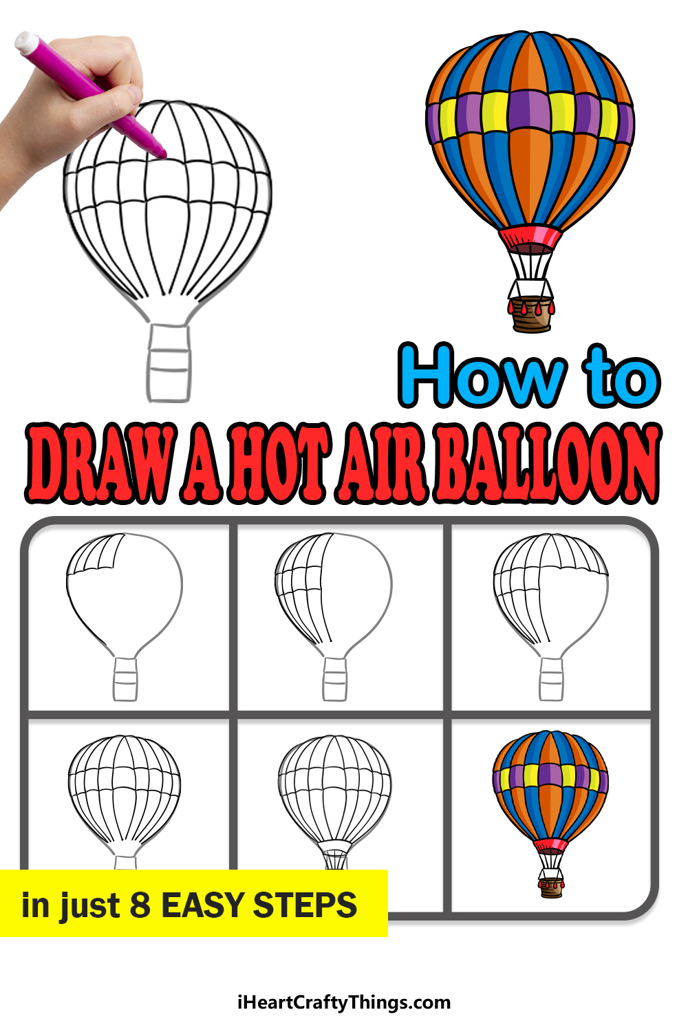 how to draw a hot air balloon in 8 easy steps