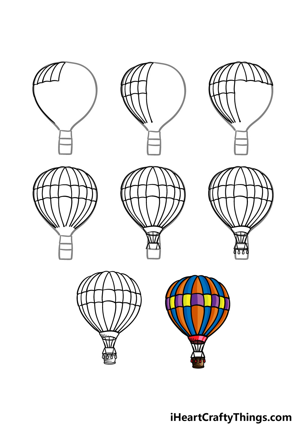 how to draw a hot air balloon in 8 steps