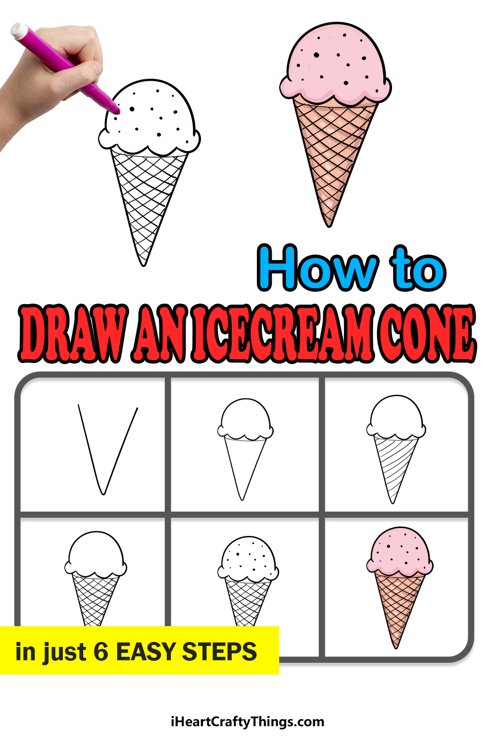 how to draw an ice cream cone in 6 easy steps