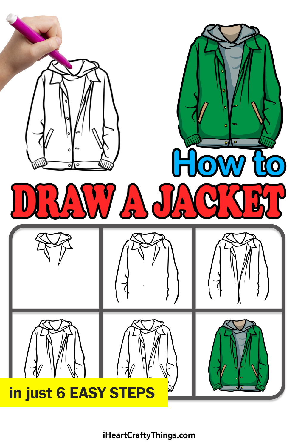 how to draw a jacket in 6 easy steps