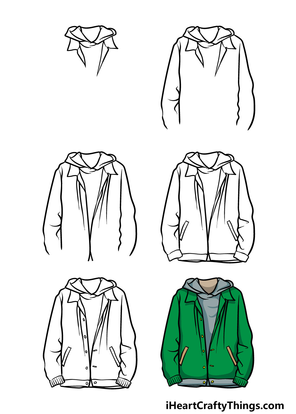 how to draw a jacket in 6 steps
