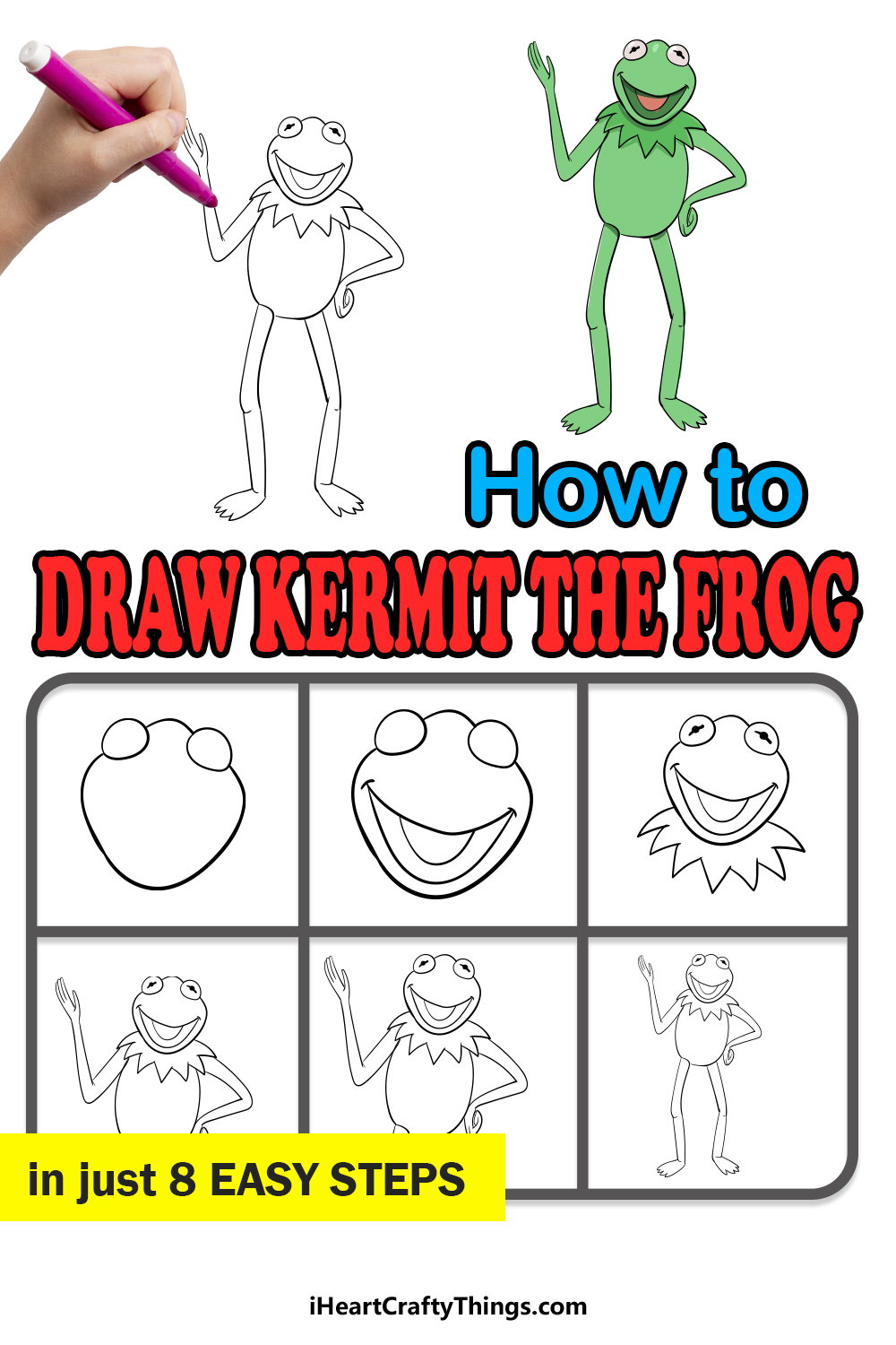 how to draw Kermit the frog in 8 easy steps