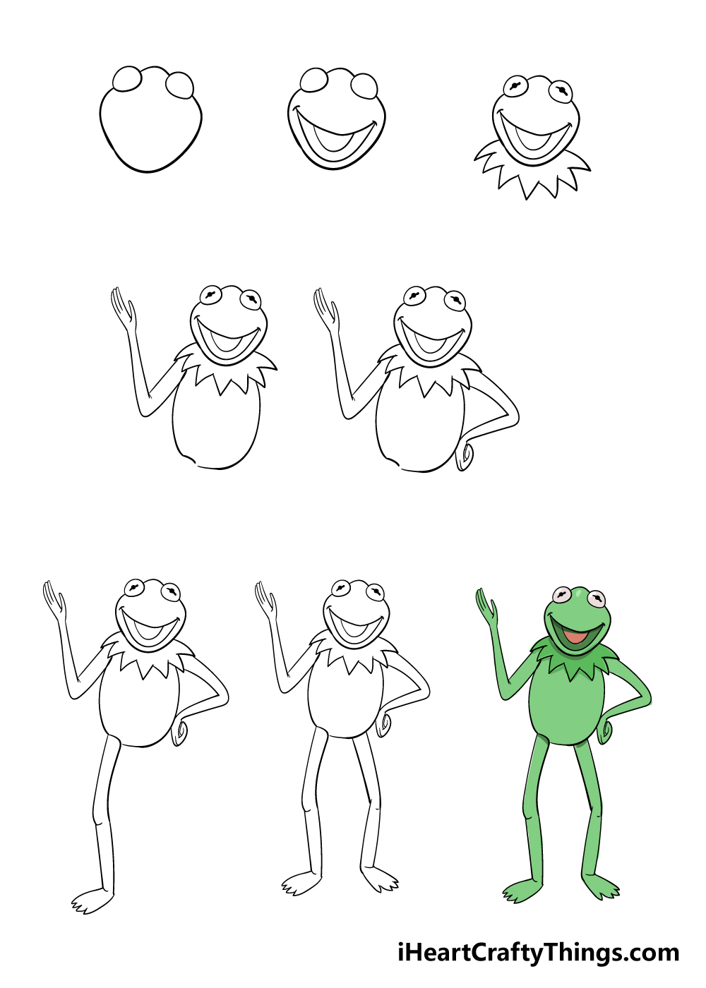 how to draw Kermit the frog in 8 steps