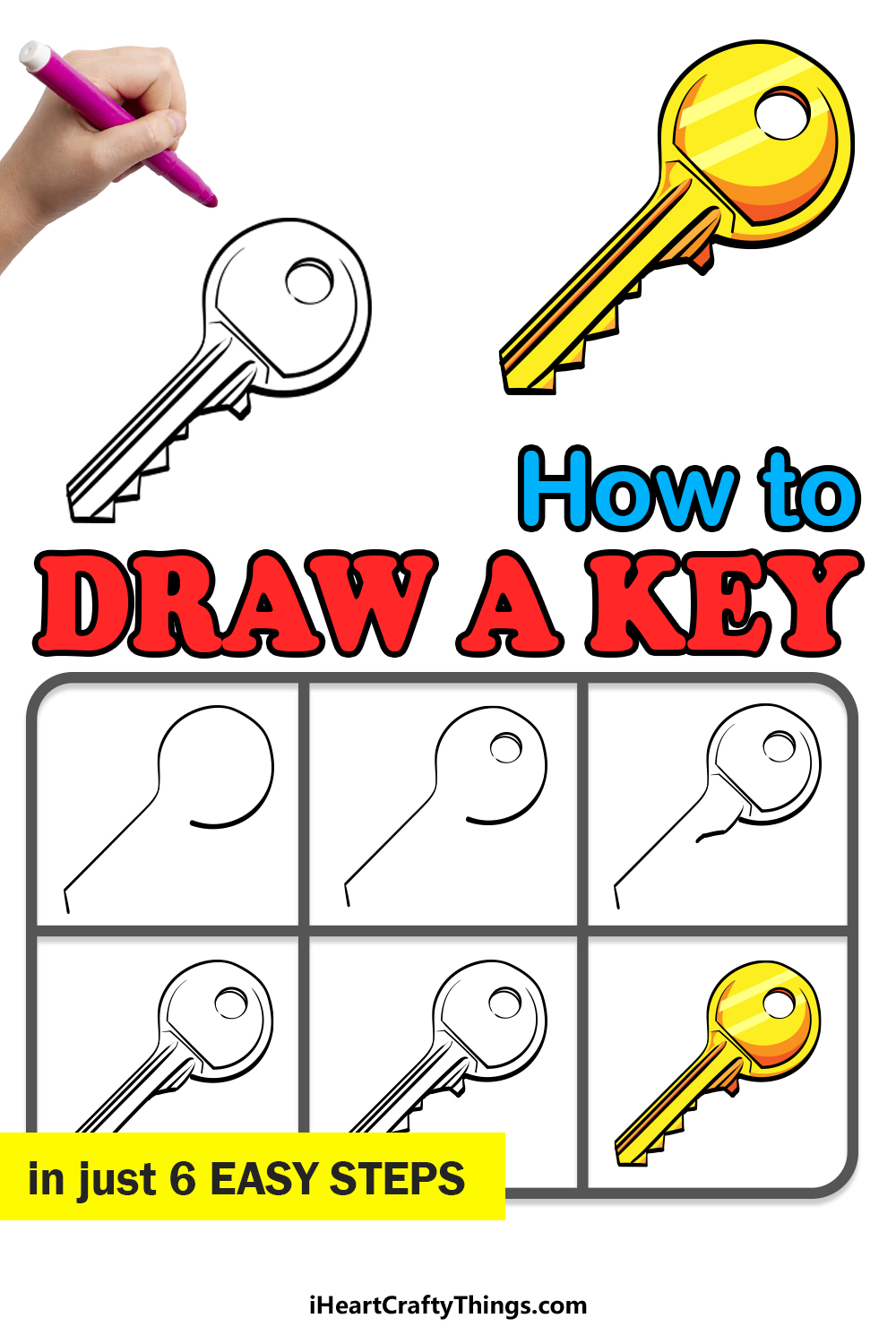how to draw a key in 6 easy steps
