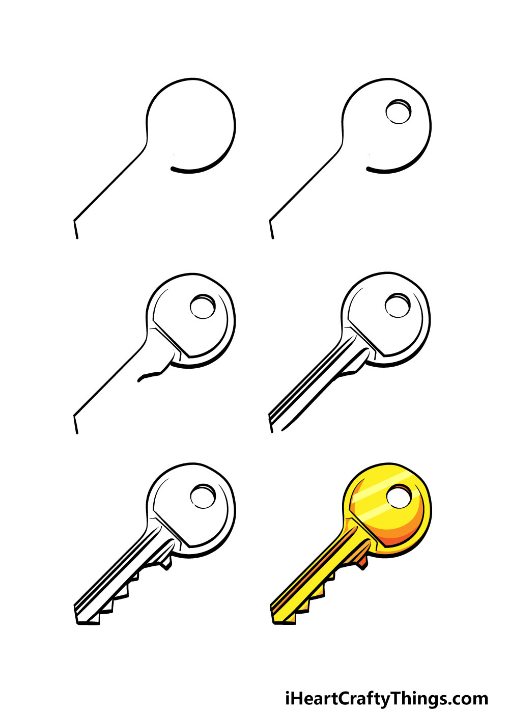 how to draw a key in 6 steps