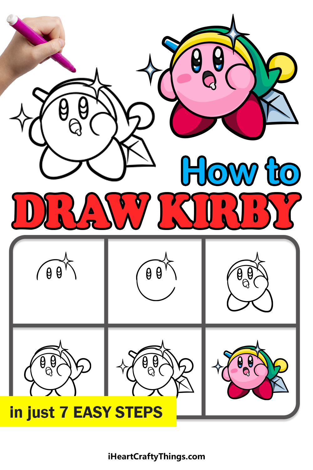 how to draw kirby in 7 easy steps