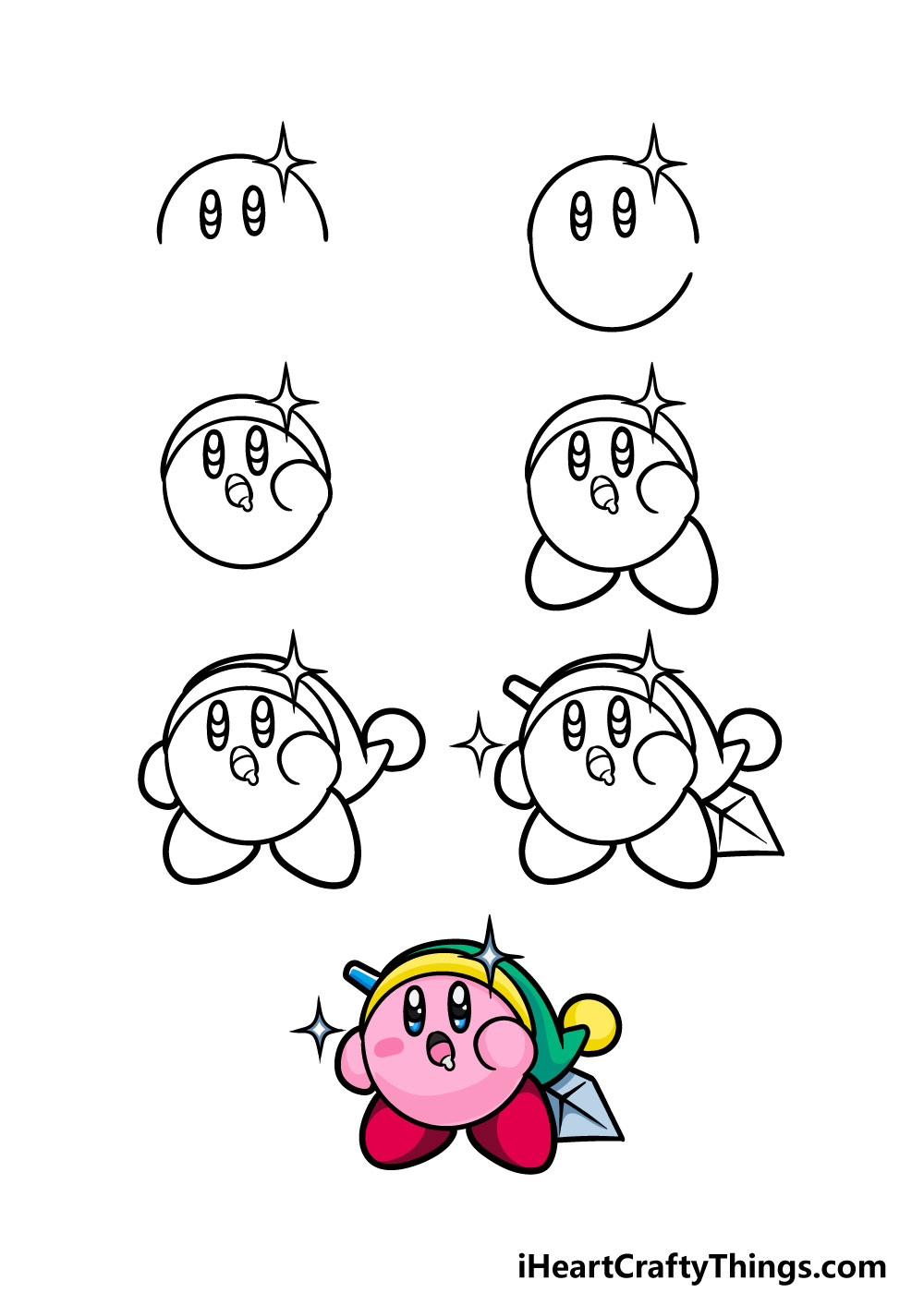 how to draw kirby in 7 steps