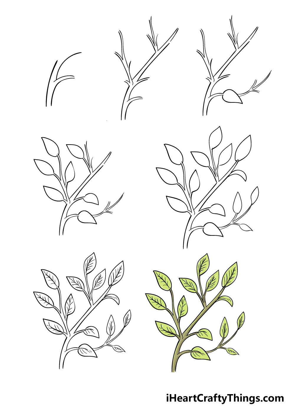 how to draw leaves on a tree in 7 steps