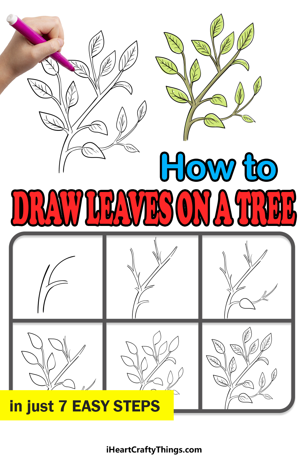 how to draw leaves on a tree in 7 easy steps