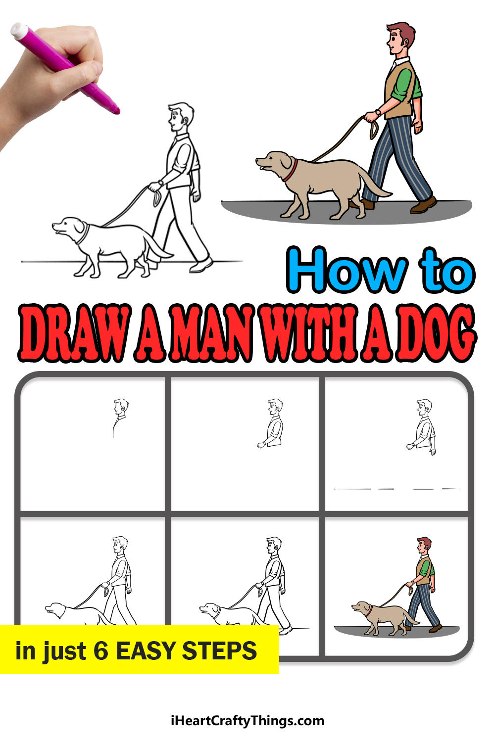 how to draw a man with a dog in 6 easy steps