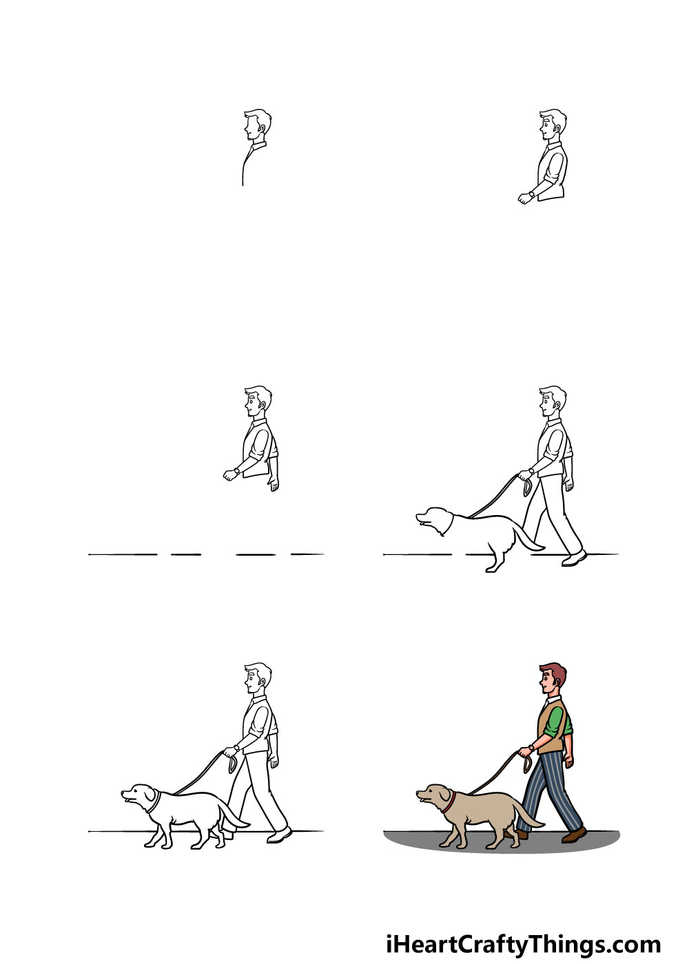 how to draw a man with a dog in 6 steps
