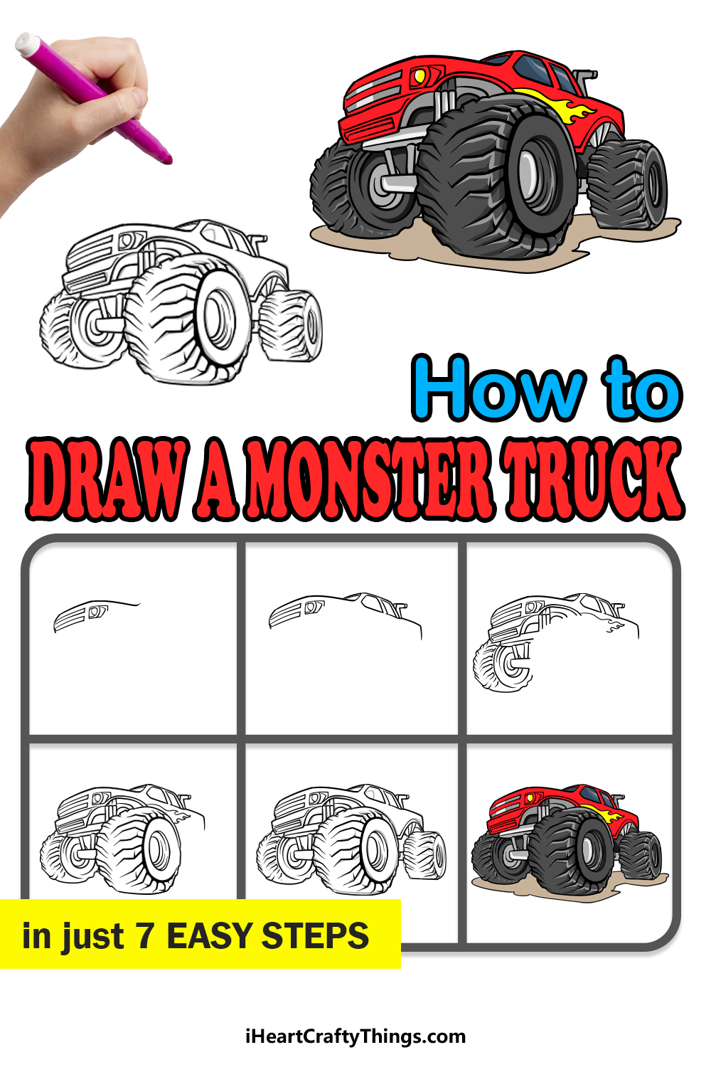 how to draw a monster truck in 7 easy steps