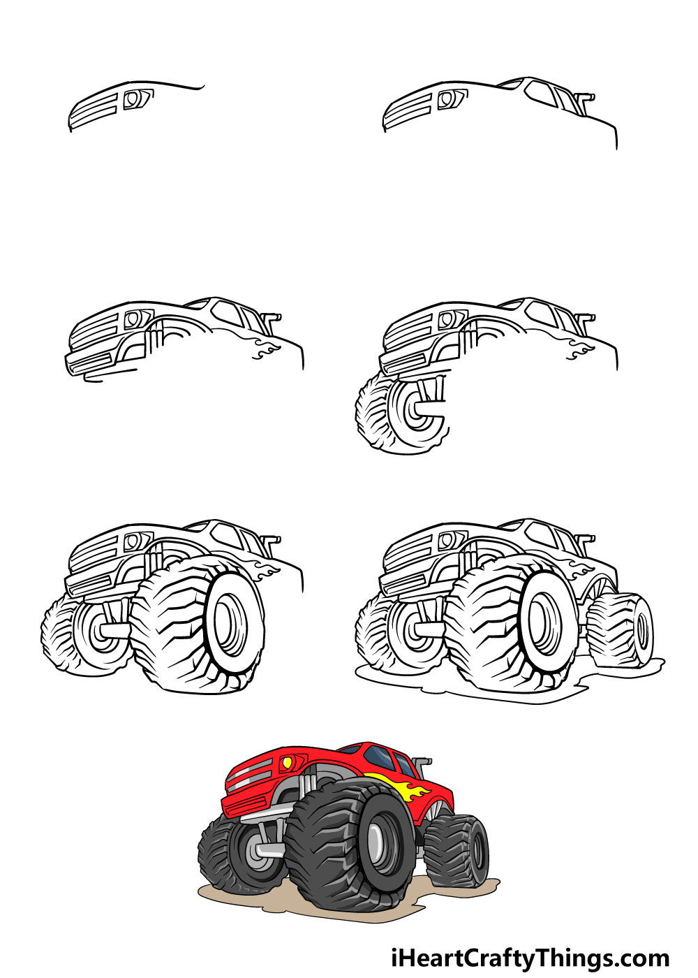 How to Draw A Monster Truck in 7 steps